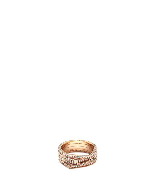 Repossi | Metallic 'antifer' Diamond 18k Rose Gold Four Row Teardrop Ring | Lyst