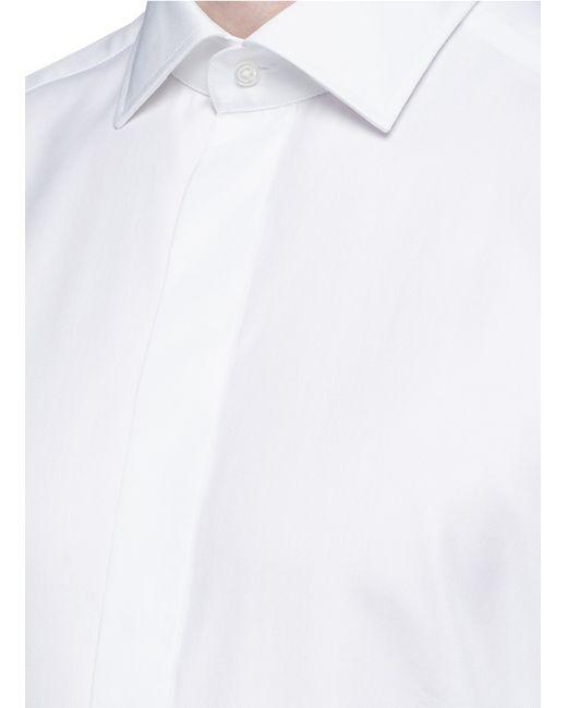 Armani slim fit cotton silk tuxedo shirt in white for men for Extra slim tuxedo shirt