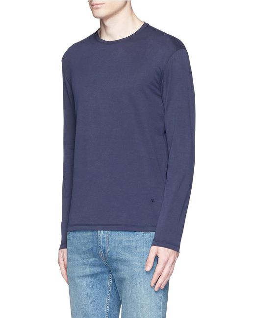 Isaia silk cotton blend t shirt in blue for men lyst for Cotton silk tee shirts