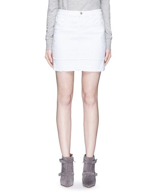 j brand leila distressed denim pencil skirt in white