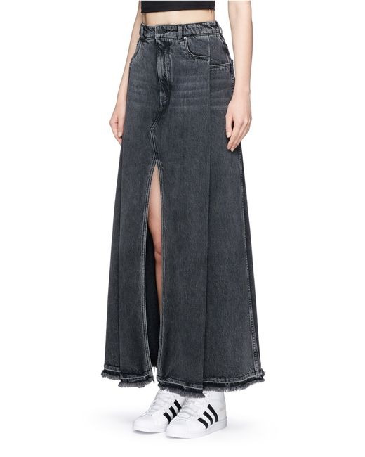 t by wang deconstructed denim maxi skirt in blue
