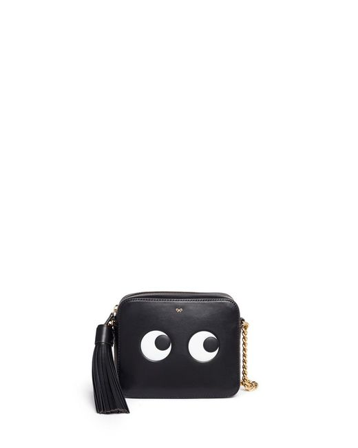 Anya Hindmarch | Black 'eyes' Embossed Leather Crossbody Bag | Lyst