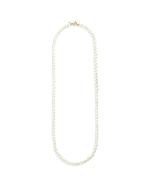 Kenneth Jay Lane | White Glass Pearl Strand Long Necklace | Lyst