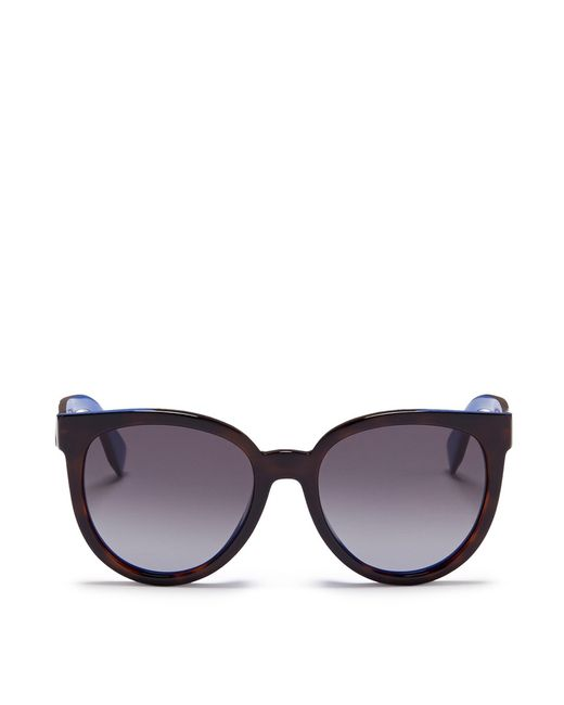 Fendi | Brown Colourblock Acetate Round Cat Eye Sunglasses | Lyst
