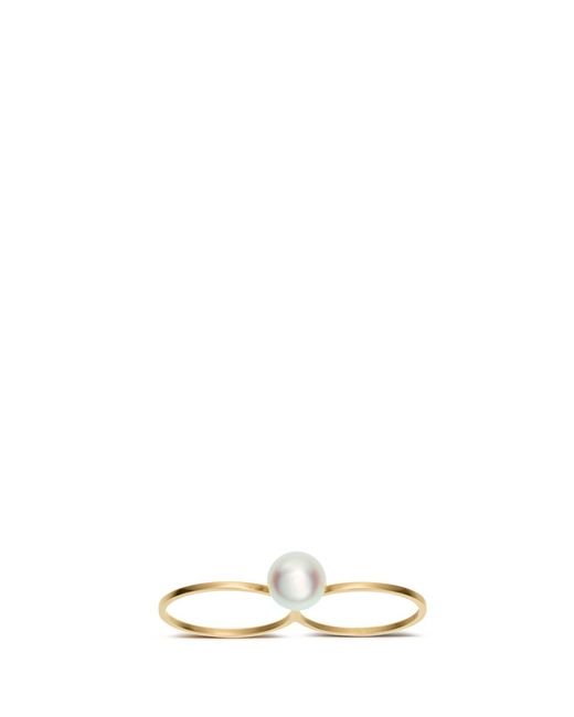 Sophie Bille Brahe | Metallic 'double De Perle' 14k Gold Pearl Two Finger Ring | Lyst
