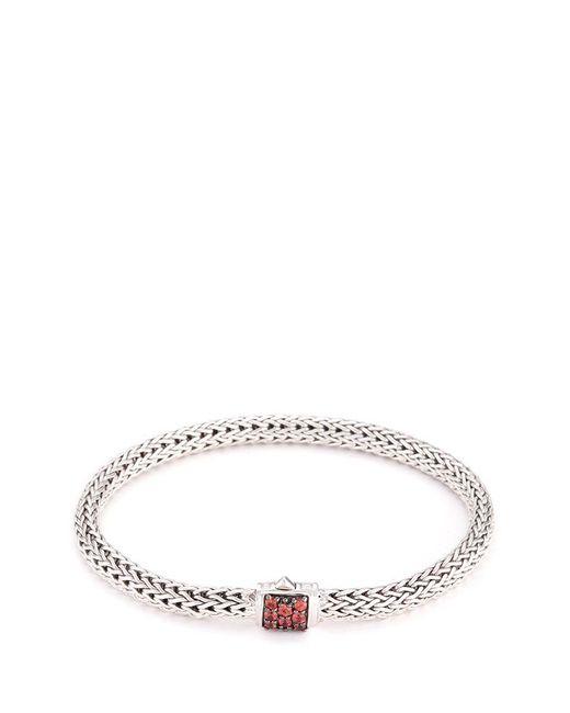 John Hardy | Metallic Sapphire Silver Woven Chain Hook Bracelet | Lyst