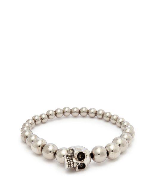Alexander McQueen - Metallic Skull Charm Metal Ball Bracelet for Men - Lyst