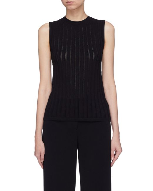 Theory - Black Crossover Back Pointelle Knit Sleeveless Top - Lyst