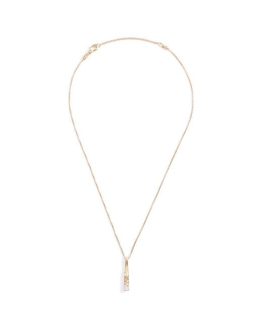John Hardy | Metallic Diamond 18k Yellow Gold Bamboo Pendant Necklace | Lyst