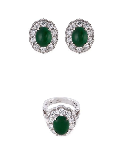LC COLLECTION - Metallic Diamond Jade 18k White Gold Ring And Earrings Set - Lyst