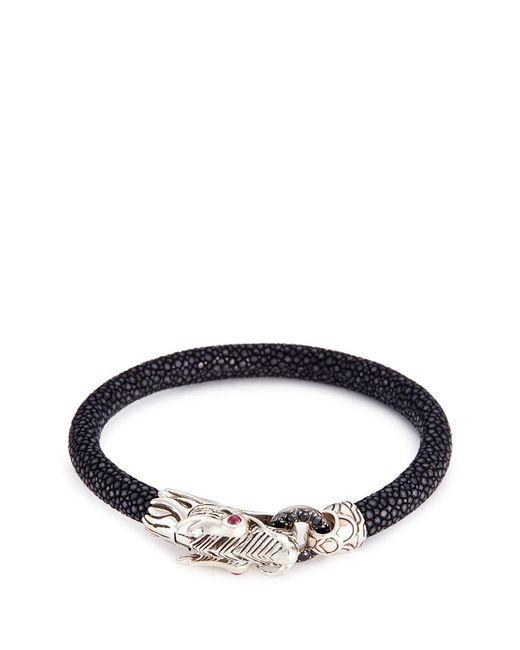 John Hardy | Black Sapphire Ruby Silver Naga Stingray Cord Bracelet | Lyst
