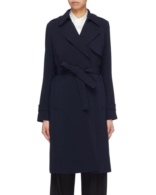 795289a7e6 Theory - Blue 'oaklane B' Belted Crepe Trench Coat - Lyst ...