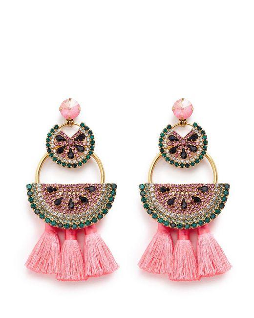 Elizabeth Cole | Metallic 'watermelon Chandeliers' Swarovski Crystal Tassel Drop Earrings | Lyst