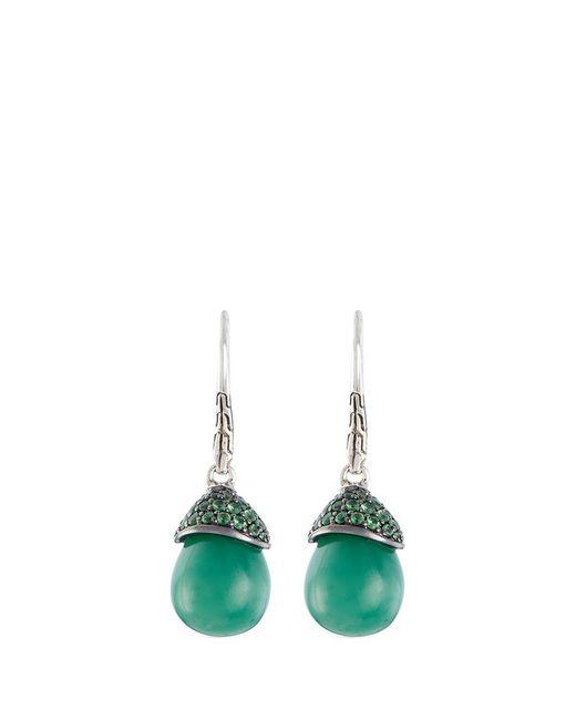 John Hardy | Green Jade Tsavorite Silver Drop Earrings | Lyst