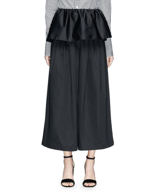 TOME - Black Detachable Ruffle Overlay Cropped Wide Leg Karate Pants - Lyst