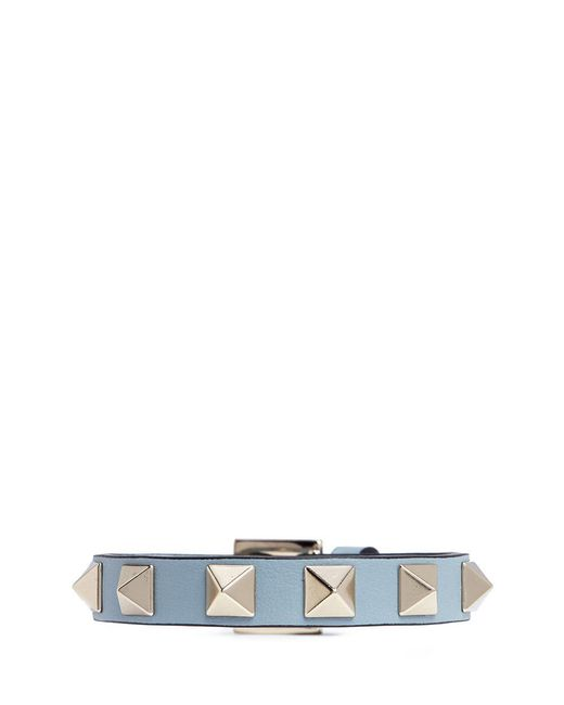 Valentino | Blue 'rockstud' Small Leather Bracelet | Lyst