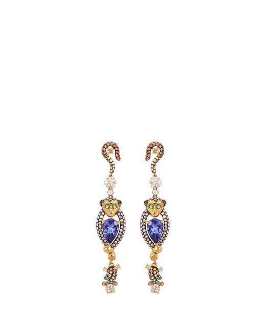 Wendy Yue | Metallic Diamond Gemstone 18k Yellow Gold Monkey Drop Earrings | Lyst