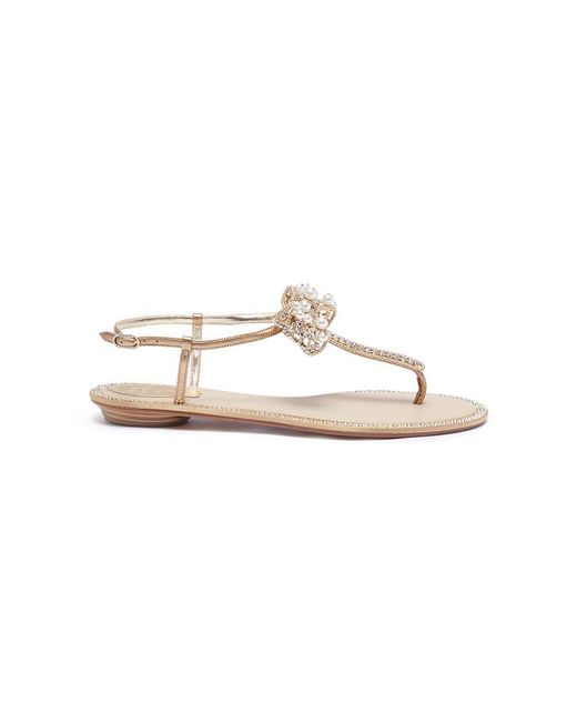 Rene Caovilla - Metallic Bow Embellished Leather Thong Sandals - Lyst
