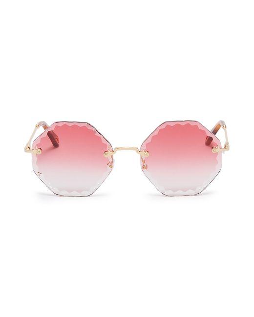 Chloé Metallic 'rosie' Rimless Sunburst Octagon Frame Sunglasses
