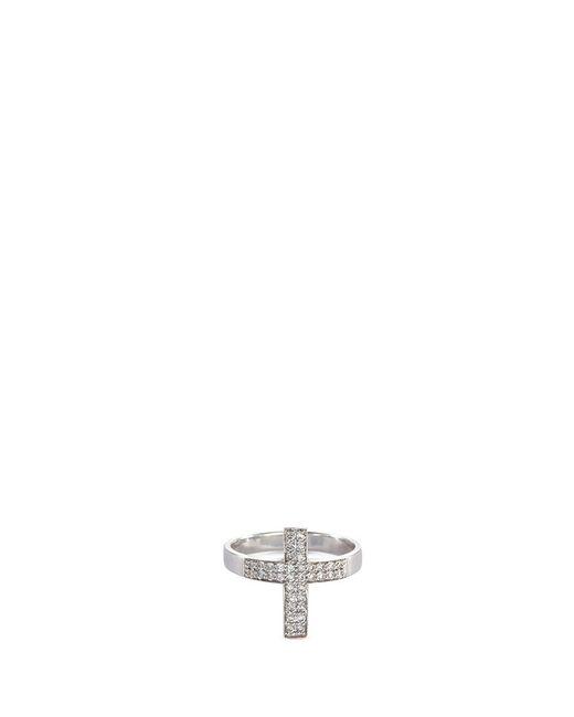 Lynn Ban | Metallic 'pave Cross' Diamond Silver Ring | Lyst