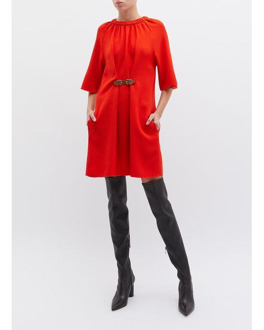 a9a154c622fd ... Tibi - Shirred Collar Buckled Crepe Shift Dress - Lyst ...