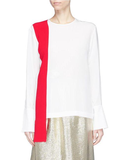 Stella McCartney - Multicolor Colourblock Sash Drape Silk Crepe Top - Lyst