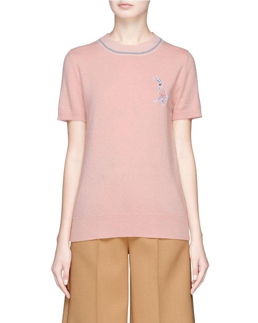 Helen Lee | Pink Bunny Embroidered Wool-cashmere Knit Top | Lyst