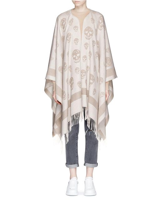 Alexander McQueen | Natural Skull Jacquard Wool-cashmere Knit Cape | Lyst