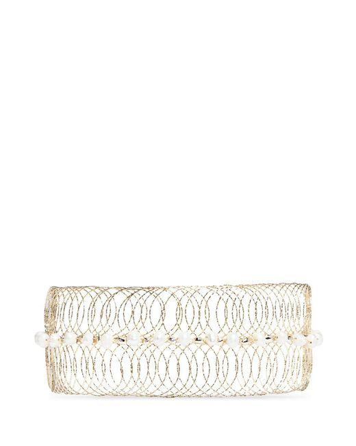 Rosantica   Metallic 'big Bang' Faux Pearl Metal Wire Cuff Choker   Lyst