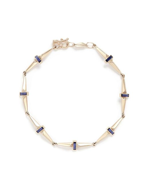Monique Péan - Metallic Sapphire Diamond 18k Recycled White Gold Trapezoid Link Bracelet - Lyst