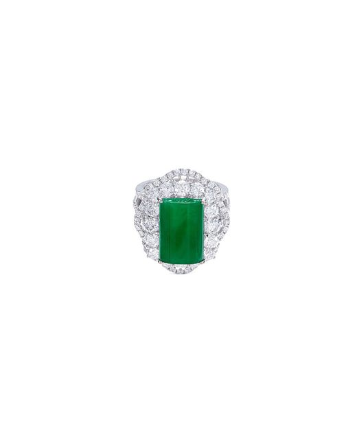 LC COLLECTION - Metallic Diamond Jade 18k Gold Scallop Ring - Lyst