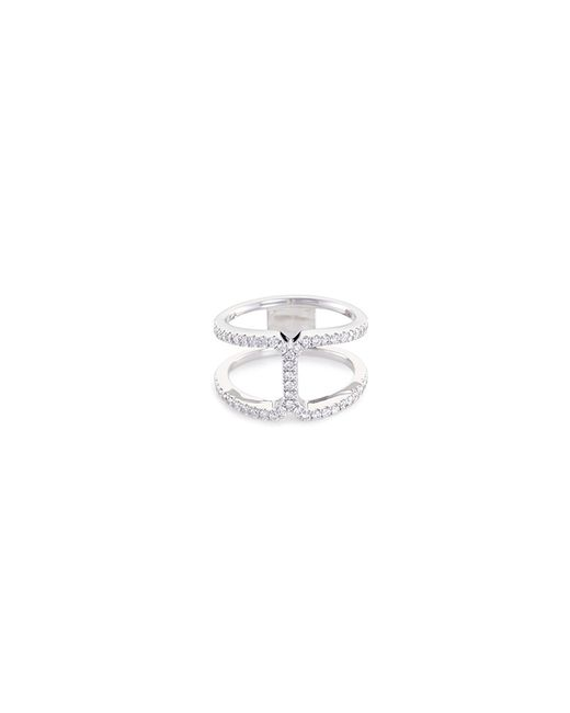 LC COLLECTION - Metallic 'art Deco' Diamond 18k White Gold Cutout Ring - Lyst