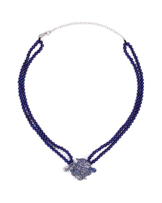 Wendy Yue | Metallic Diamond Sapphire Lapis 18k White Gold Dragon Pendant Necklace | Lyst