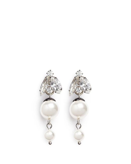 Joomi Lim | White 'monochrome Chic' Swarovski Crystal And Pearl Drop Earrings | Lyst