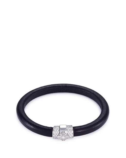 Shamballa Jewels - Metallic 'korne' Diamond Rhodium 18k Gold Leather Bracelet - Lyst