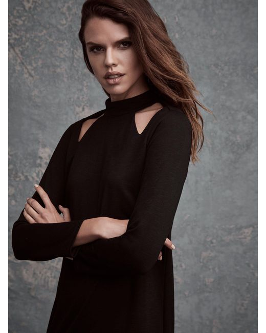 Lanston | Black Cutout Turtleneck Mini Dress | Lyst