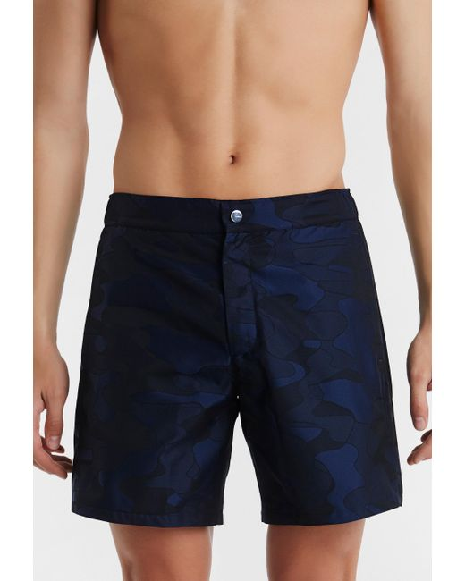 La Perla | Blue Camouflage Swim Shorts In Jacquard Technical Fabric for Men | Lyst