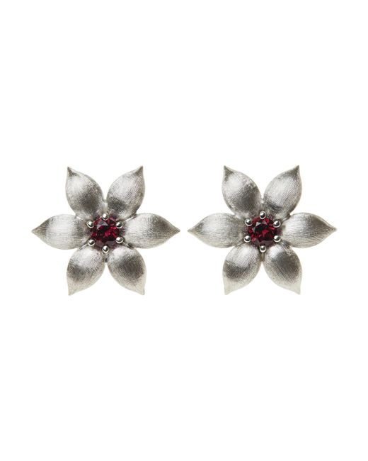La Perla | Multicolor White Gold & Red Topaz Flower Earrings | Lyst