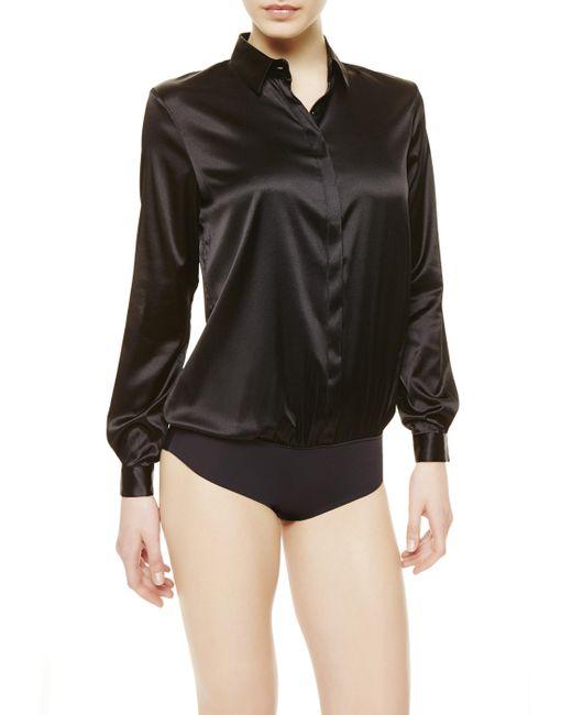 La Perla   Black Shirt Bodysuit   Lyst