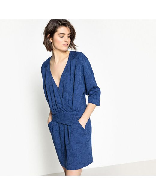 LA REDOUTE - Blue Raglan Sleeve Dress With Wrapover Top - Lyst