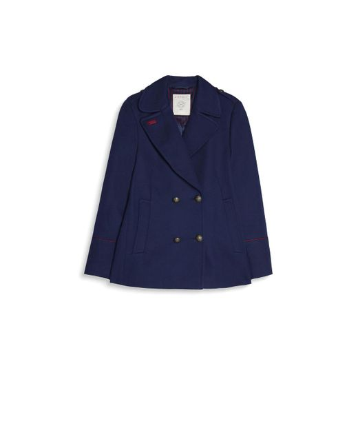 Esprit Mid-length, Mid-season Pea Coat in Blue | Lyst