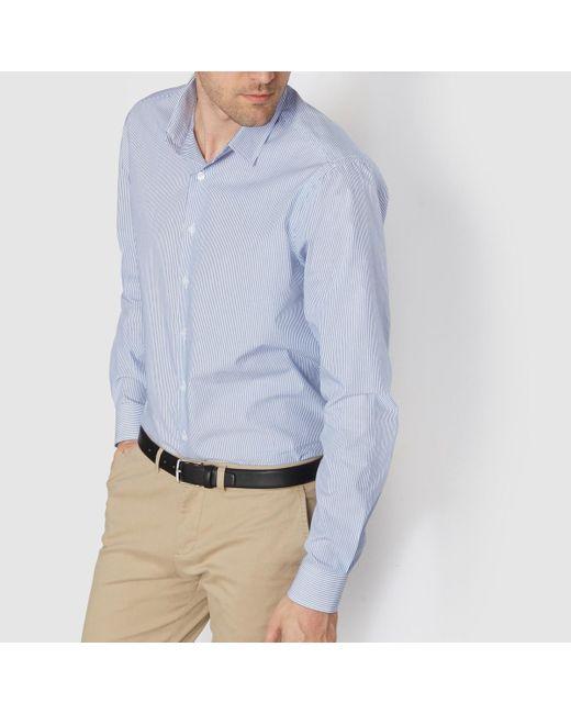 LA REDOUTE | Blue 100% Cotton Straight Cut Striped Shirt for Men | Lyst