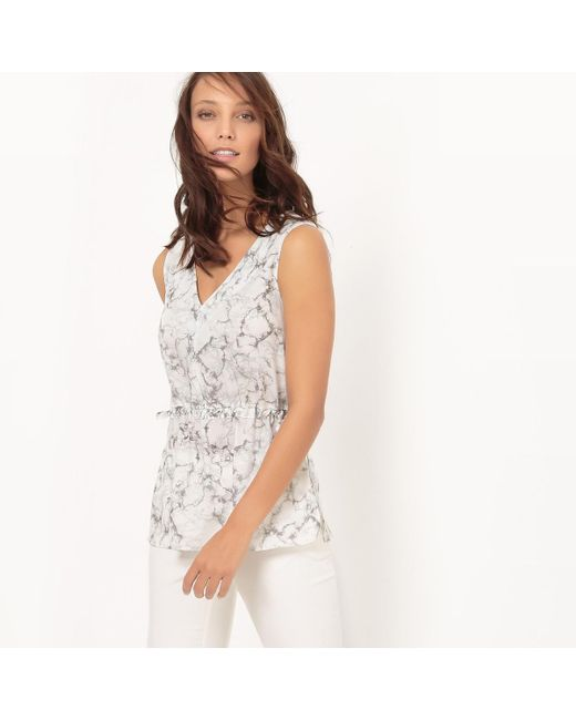LA REDOUTE | White Marble Printed Blouse | Lyst