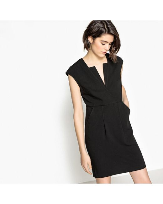 LA REDOUTE | Black Short-sleeved Flared Dress With Stylish Neckline | Lyst