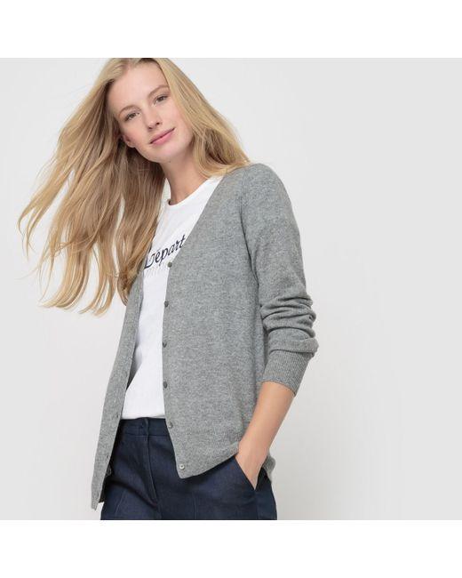 LA REDOUTE | Gray Pure Cashmere Jersey V-neck Cardigan | Lyst