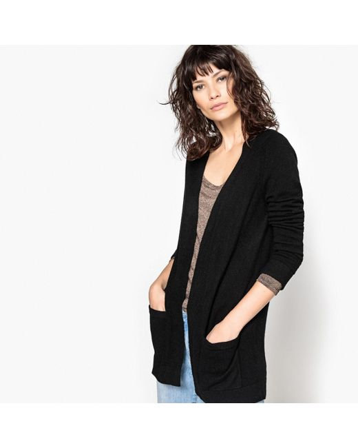 LA REDOUTE - Black Long-sleeved Open Cardigan - Lyst