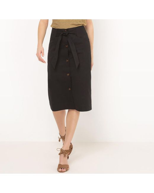 LA REDOUTE - Black Knee Length Buttoned Skirt - Lyst
