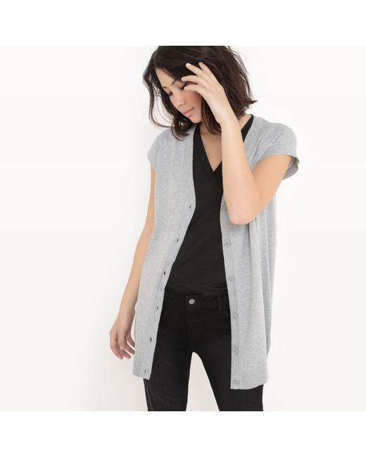 LA REDOUTE | Gray Short-sleeved Cotton And Silk Cardigan | Lyst