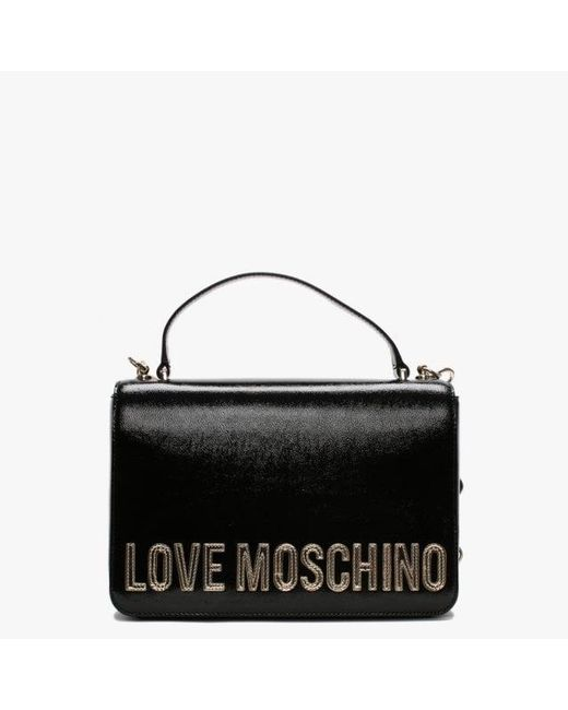 6b00c1621570e Love Moschino Chain Strap Black Patent Shoulder Bag in Black - Lyst