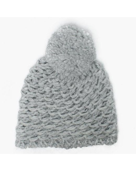 Ugg - Gray Womens Yarn Light Grey Pom Pom Beanie Hat - Lyst ... 6f22adc3e1d